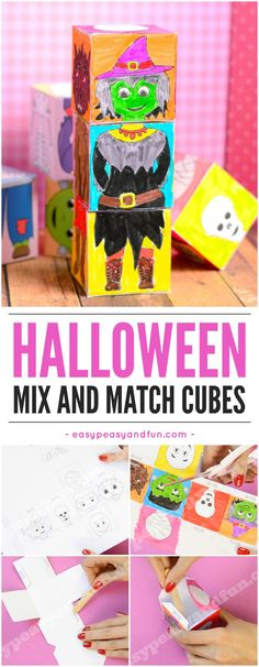 Printable Halloween mix and match cubes. Super fun Halloween activity for kids in classroom or at home. #halloween #papertoys