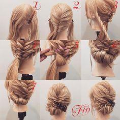 フォロワーさんリクエスト★ ギブソンタック×編み込みアレンジ✨ 1,横と後ろを分けます 2,後ろは左寄りに二つ編み込みを作ります 3,横はロープ編みを作ります 4,横のローブ編みは2番のゴムの上で結びます 5,アレンジスティックを使ってギブソンタックを作っていきます 6,毛先は見えないところでピン留めします 7,ピン留めすると写真のようになります Fin,崩したら完成です。 動画は出来次第postします★ 参考になれば嬉しいです^ ^ #ヘア#hair#ヘアスタイル#hairstyle#サロンモデル#サロモ#撮影#編み込み#三つ編み#フィッシュボーン#ロープ編み#まとめ髪 #アレンジ#結婚式#ブライダル#ヘアアレンジ#アレンジ動画#アレンジ解説#香川県#高松市#丸亀市#宇多津#美容室#美容院#美容師#ギブソンタック