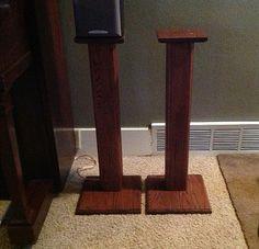 Rustic Red Oak Surround Sound Speaker Stands by PJsCraftingCorner
