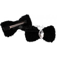 Marquise Cut Crystal Hair Bow Black with Clip