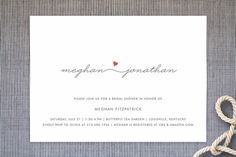 """""""Love Connection"""" - Modern, Simple Bridal Shower Invitations in Red Hot by Kim Dietrich Elam."""