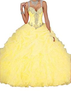 Ikerenwedding Women's Spaghetti Beading Pearls Sheer Back Ball Gown Long Ruffles Quinceanera Dresses Yellow US02 Ikerenwedding http://www.amazon.com/dp/B012UTGRKU/ref=cm_sw_r_pi_dp_YWJ5vb10QJ971