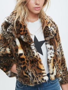 Mother Denim   boxy cropped faux fur jacket with leopard print
