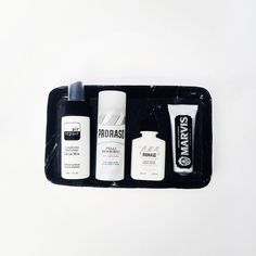 A selection of favourite travel size toiletries for men: @air_repairskin Facial…