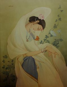 Women with Butterfly  - Painting by Rajib Gain
