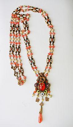 Amazing Antique Czech Victorian Nouveau Dragon Enamel Filigree Pink Necklace Sgn | eBay
