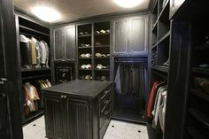 Master bathroom traditional closet with built-in safe