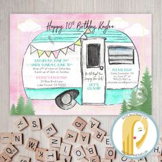 Glamping Birthday Party Invitation Camping Sleepover Camp