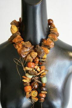 Necklace | Twiga Gallery.  Pure raw Amber/Antique Guinea Amber/Mali Amber/Moroccan Amber & Ancient Amazonite