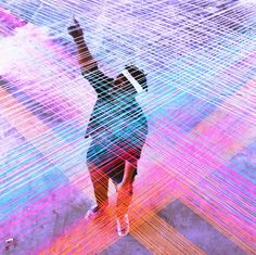 Colourful yarn installation that allows you to experience music physically…
