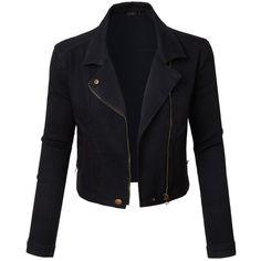 LE3NO Womens Vintage Long Sleeve Moto Biker Cropped Denim Jean jacket (305 SEK) ❤ liked on Polyvore featuring outerwear, jackets, biker style jacket, long sleeve crop jacket, zip up jackets, biker jackets and cotton jacket