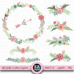"Wedding Clipart ""WEDDING FLORA"" clip art pack Vintage Flowers,Floral Frames,Wreath,Wedding Flora,Wedding invitation Instant Download Wf001"