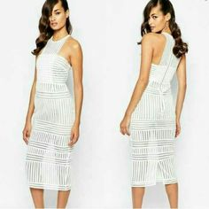 Self-Portrait striped mesh column dress AUTHENTIC! SOLDOUT!! as seen on Erin Andrews striped honeycomb mesh is used to craft this slim fitting midi dress. the skirt is detailed with inserted striped panels in contrasting directions and is half lined to show the transparent detailing of the fabric. the dress fastens at the back. Additional photos available - comment below. Self-Portrait Dresses