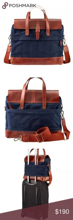 TIMBERLAND NANTASKET BRIEFCASE Enjoy town with an all purpose bag from timberland . This bag is made with cotton canvas, a leather trim, and a large zipper pocket ,1 side pocket Ana has a padded laptop or tablet sleeve with Velcro closure. Imported Details. Genuine leather trim and other fibers Adjustable/removable strap and carrying handles Canvas & leather exterior 1 large exterior zipper pocket 1 backside exterior zipper opening to slide bag into rolling luggage 1 large interior zipper…