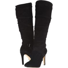 GUESS Daris Women's Dress Boots ($72) ❤ liked on Polyvore featuring shoes, boots, heels, heeled boots, black, knee-high boots, tall black boots, black suede boots, black platform boots and knee high boots