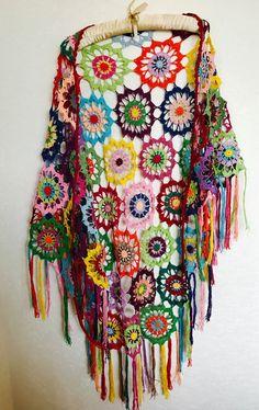 Colourful Crochet Shawl | Boho Gypsy Shawl | Hippie Patchwork | Colorful Gypsy Shawl | Handmade |100 cotton-merserized by fyboutique on Etsy https://www.etsy.com/listing/484980106/colourful-crochet-shawl-boho-gypsy-shawl