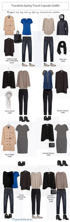 Spring travel capsule outfits. I would need another pair of shoes, no booties with a dress for me.