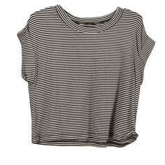 Cut Off Striped Tee (345 MXN) ❤ liked on Polyvore featuring tops, t-shirts, shirts, crop tops, loose fit t shirts, striped shirt, striped tee, cropped shirts and stripe shirt