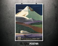 WESTERN PACIFIC - California Zephyr - Bern Hill, 1951 - Railway, United States, Home Wall Decor Travel Gift Poster Canvas Art Prints Vintage by TheRetroPoster on Etsy