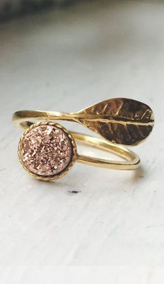 Delicate and Elegant Titanium Rose Gold Druzy Quartz Leaf Adjustable Rings