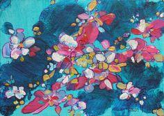 """Mimosa 5"""" x 7"""" mixed media by Rea Kelly. reakelly.com"""