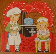 "Enamel Pot Antique Cookstove ""I'll be all STOVE in if you won't be my Valentine"""