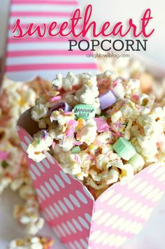 The perfect Valentine treat! Sweetheart Popcorn - so easy to make and so tasty - a snack the whole family will love!.