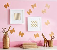 Gold Butterfly Decals   Pottery Barn Kids