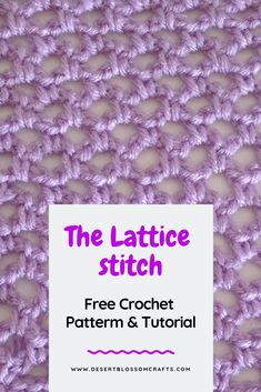 Lattice Stitch: Free Crochet Pattern How to crochet a beautiful crochet lace stitch: the lattice stitch! Crochet Lace Scarf, Crochet Bebe, Tunisian Crochet, Learn To Crochet, Crochet Yarn, Free Crochet, Easy Crochet, Crochet Flowers, Beginner Crochet Projects
