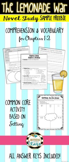 This is a 7 page FREE sample of my novel study for The Lemonade War, by Jacqueline Davies. Common Core aligned and easy to use, this study is perfect for small group, whole class, or even independent study.