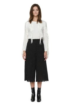 Style Mafia Marina Pants. Cropped  Wide- Leg Lace Pants.