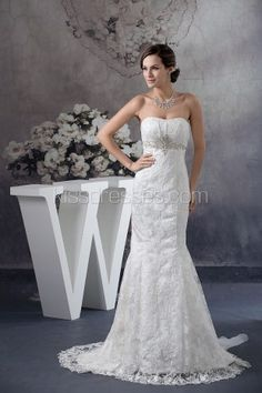 Fancy Embroidery Trumpet/Mermaid With Crystal Wedding Gown
