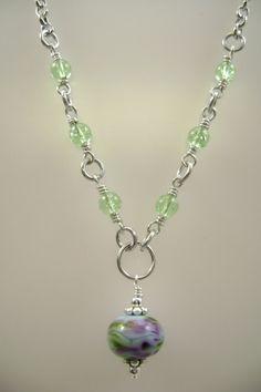 purple green lampwork necklace