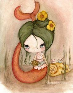 Mermaid Print Baking Cupcake Nautical Girl Kitchen by thepoppytree, $18.00
