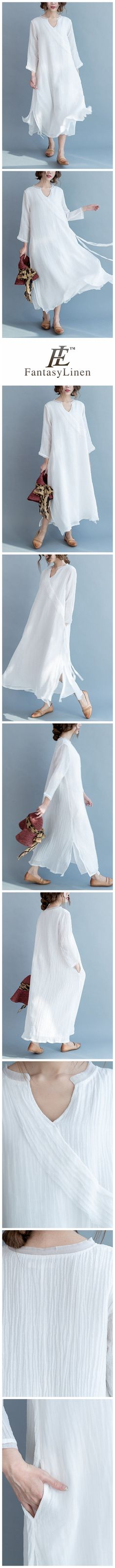 White Silk Linen Long Summer Dresses V-Neck Women Clothing Q3111  Q3111White