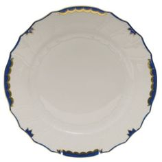 Herend's Princess Victoria dinner plate in blue. Herend china has a white porcelain body and hand painted designs. Yellow Dinner Plates, Herend China, Blue Dinnerware, Princess Victoria, Queen Victoria, China Plates, China Sets, China Patterns, Pie Dish