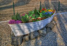 Step-By-Step Boat Plans - Planting Flowers in a Boat. These are the BEST DIY Garden Yard Ideas! - Master Boat Builder with 31 Years of Experience Finally Releases Archive Of 518 Illustrated, Step-By-Step Boat Plans Garden Yard Ideas, Garden Projects, Garden Art, Garden Landscaping, Garden Design, Landscaping Ideas, Garden Planters, Garden Beds, Kid Garden