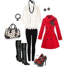 Classic black, white, & red