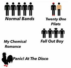 My Chemical Romance  Fall Out Boy  Panic! At The Disco  Twenty One Pilots