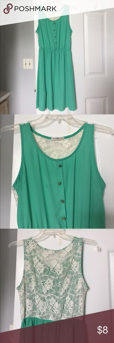 Sea foam green dress with lace back. Sea foam green dress with lace back. Not sure what size it is but it fits s/m. Worn a handful of times. Charlotte Russe Dresses