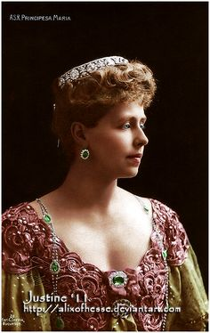 Queen Marie of Romania. Crownprincess Marie of Romania Royal Tiaras, Royal Jewels, Tiaras And Crowns, Princess Victoria, Queen Victoria, Romanian Royal Family, Edwardian Hairstyles, Spanish Dress, Princess Alexandra