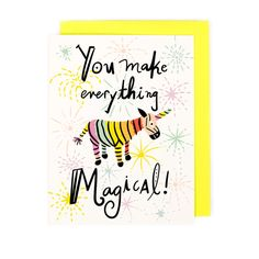 Whats a Zebracorn? Its a zebra+unicorn, of course! Theyre pure magic, as is the special friend youre giving this card to. This card is part of a collection we designed with kiddos in mind - get em started sending sweet notes young and theyll keep it up through the years!  - Professionally printed on beautiful 120 pound high-quality cream matte card stock - 4 1/4 x 5 1/2 - Blank inside - Includes coordinating envelope and plastic sleeve - Ships in a durable, bend-free envelope  Thank you for…