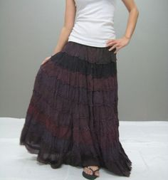 Boho Chic Layered Long Skirt, Dress It Up Or Down.