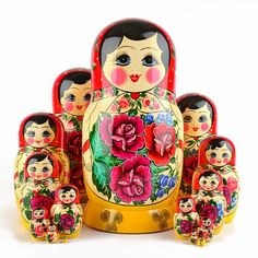 Red Roses Nesting Dolls 15 pcs. | Traditional babushkas | The Russian Store