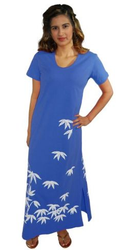 Amazon.com: M.Mac Bamboo Garden Ankle Length Dress-Royal with White Print-X-Large: Clothing