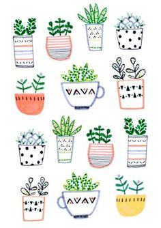 25 Ideas For Plants Illustration Pattern Succulents Illustration Blume, Botanical Illustration, Pattern Illustration, Motif Floral, Surface Pattern Design, Pattern Design Drawing, Pattern Painting, Painting Art, Bullet Journal Inspiration