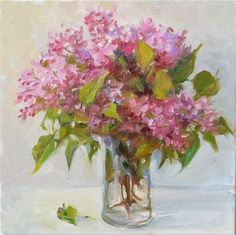 "Daily Paintworks - ""Garden Lilacs,still life,oil on canvas,12x12,price$375"" - Original Fine Art for Sale - © Joy Olney"