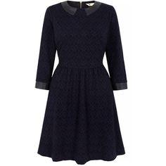 Yumi Collared Jacquard Skater Dress ($130) via Polyvore featuring dresses, navy, women, blue dress, navy dress, navy blue dress, blue long sleeve dress and long sleeve dresses