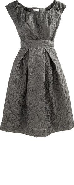 BARBARA TFANK Grey Satin Floral Appliqué Cocktail Dress