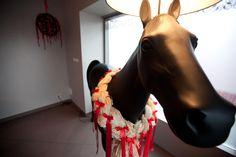 in Percheron Restaurant we have a real Percheron HORSE!!